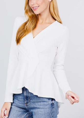 Solid White Peplum Top
