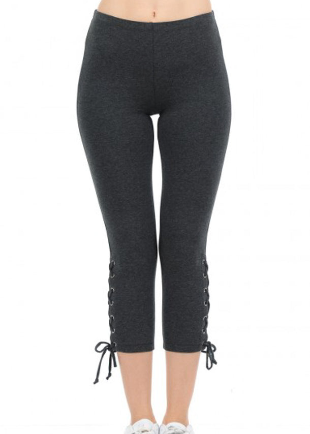 Cotton High Rise Charcoal Capri Leggings