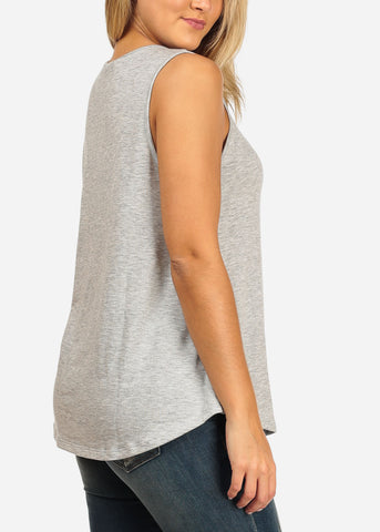 Image of Women's Junior Ladies Casual Basic Essential Solid Color Strappy V Neckline Grey Tank Top