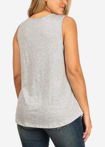 Women's Junior Ladies Casual Basic Essential Solid Color Strappy V Neckline Grey Tank Top