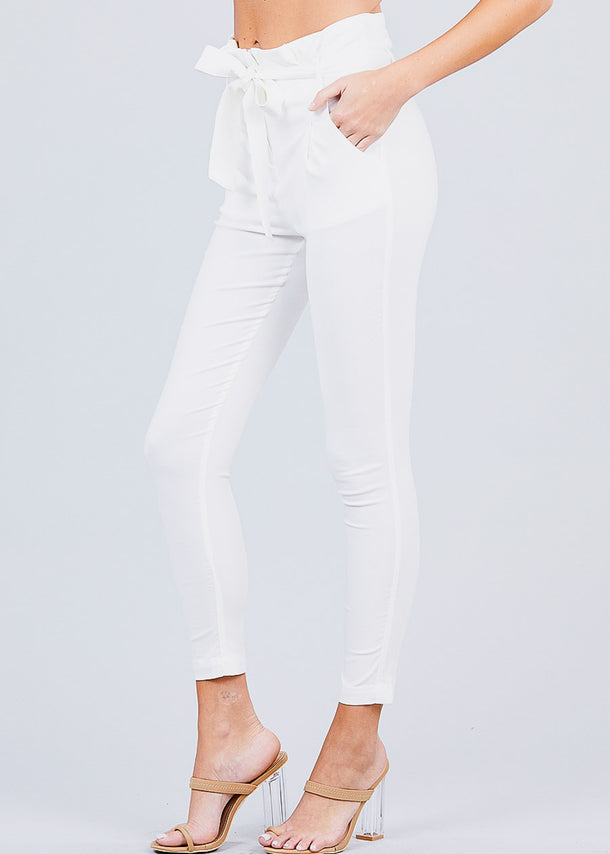 High Waisted Belted White Pants