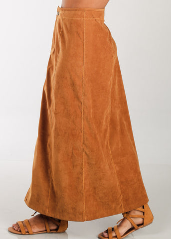 Image of 1 Button Zip Up High Waisted Long Camel Maxi Skirt For Women Ladies Junior On Sale Fashionable New 2019