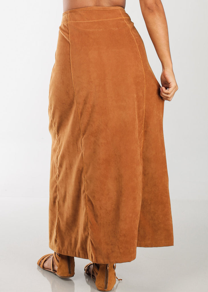 1 Button Zip Up High Waisted Long Camel Maxi Skirt For Women Ladies Junior On Sale Fashionable New 2019