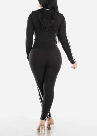Activewear Black Hoodie & Pants (2 PCE SET)