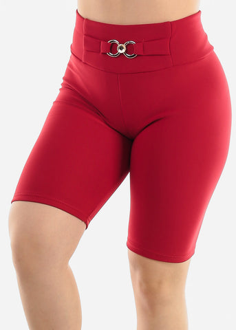 Image of Red High Waist Shorts