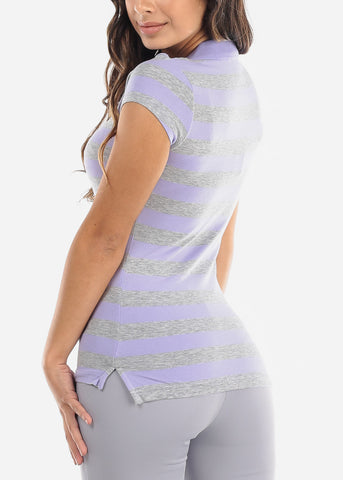 Image of Lavender Stripe Polo Shirt