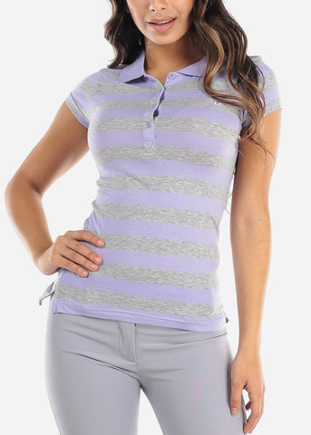 Lavender Stripe Polo Shirt