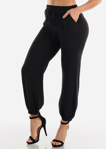 Image of Black Woven Jogger Pants
