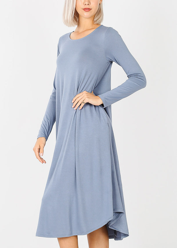 Blue Grey Long Sleeve Pocket Dress