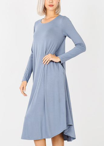 Image of Blue Grey Long Sleeve Pocket Dress