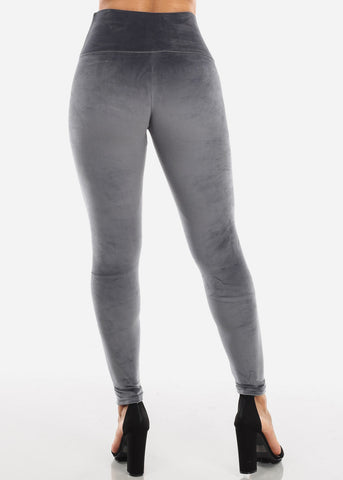 Grey Suede Leggings
