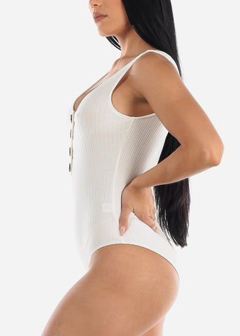 Half Button Up White Cotton Ribbed Bodysuit