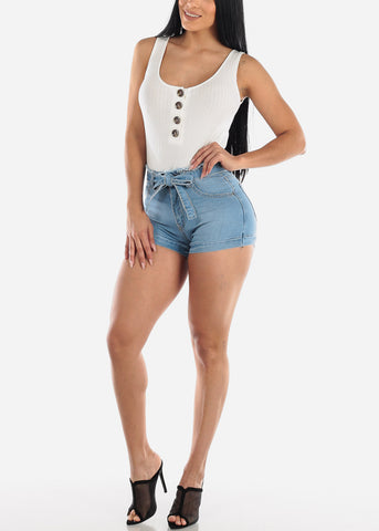 Image of Half Button Up White Cotton Ribbed Bodysuit