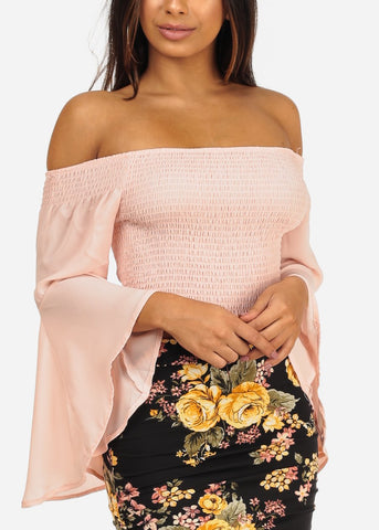 Stylish Off Shoulder Angel Sleeve Shirring Blush Crop Top