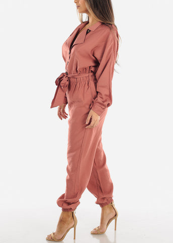 Image of Salmon Button Down Jogger Jumpsuit