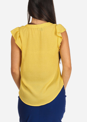 Women's Junior Ladies Casual Dressy Lightweight Yellow Polka Dot Blouse Top