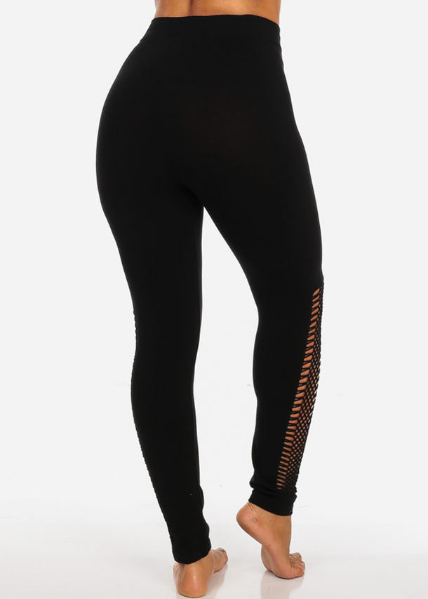One Size Activewear High Waisted Black Fishnet Detail Black Stretchy Leggings