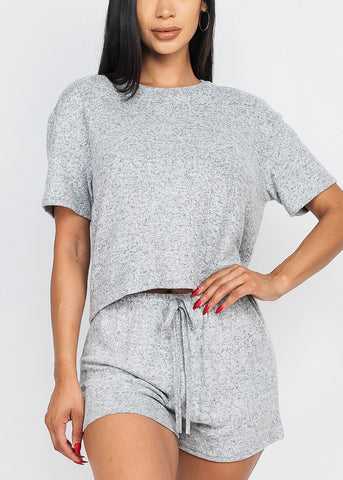 Grey Fleece Top & Shorts (2 PCE SET)