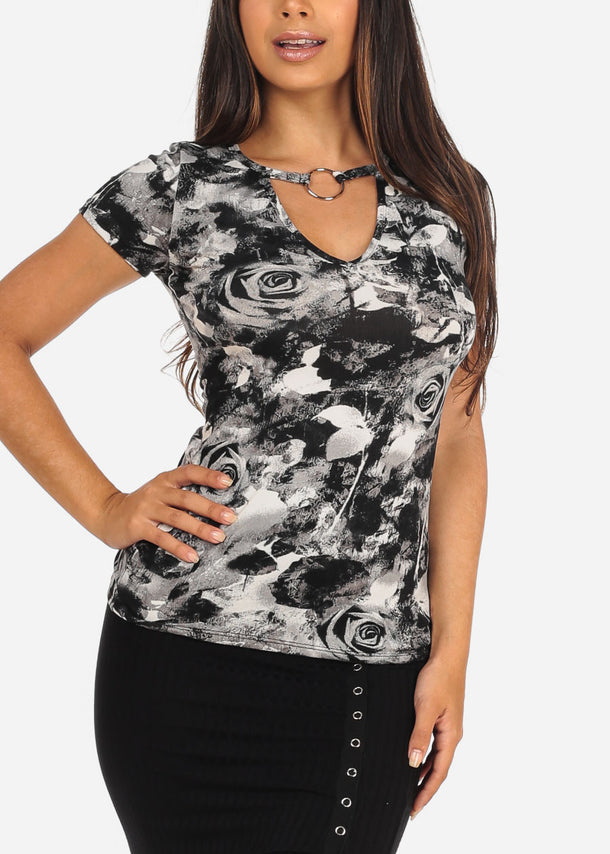 Women's Junior Ladies Casual Stretchy Short Sleeve Floral Print Grey And Black Top