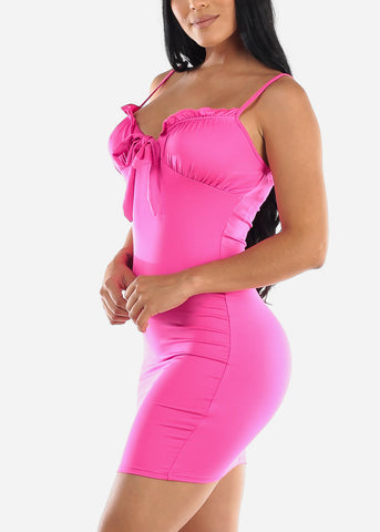 Image of Sleeveless Hot Pink Bodycon Dress