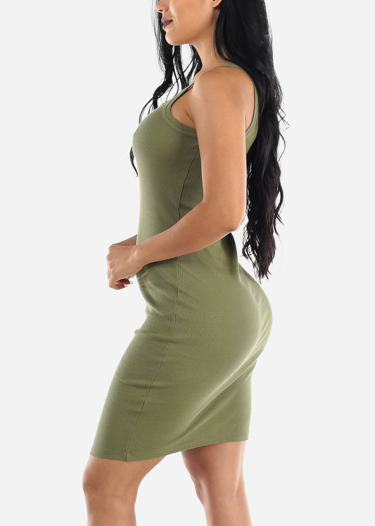 Sleeveless Casual Olive Bodycon Dress