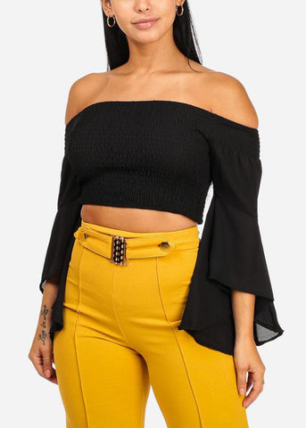 Off Shoulder Angel Sleeve Crop Top