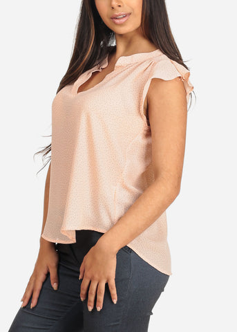 Women's Junior Ladies Lightweight Peach Polka Dot Print Flowy Blouse With Ruffle Detail
