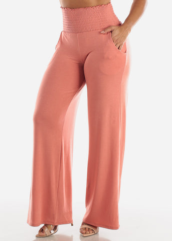 Image of Rose Smocked Waistband Pants