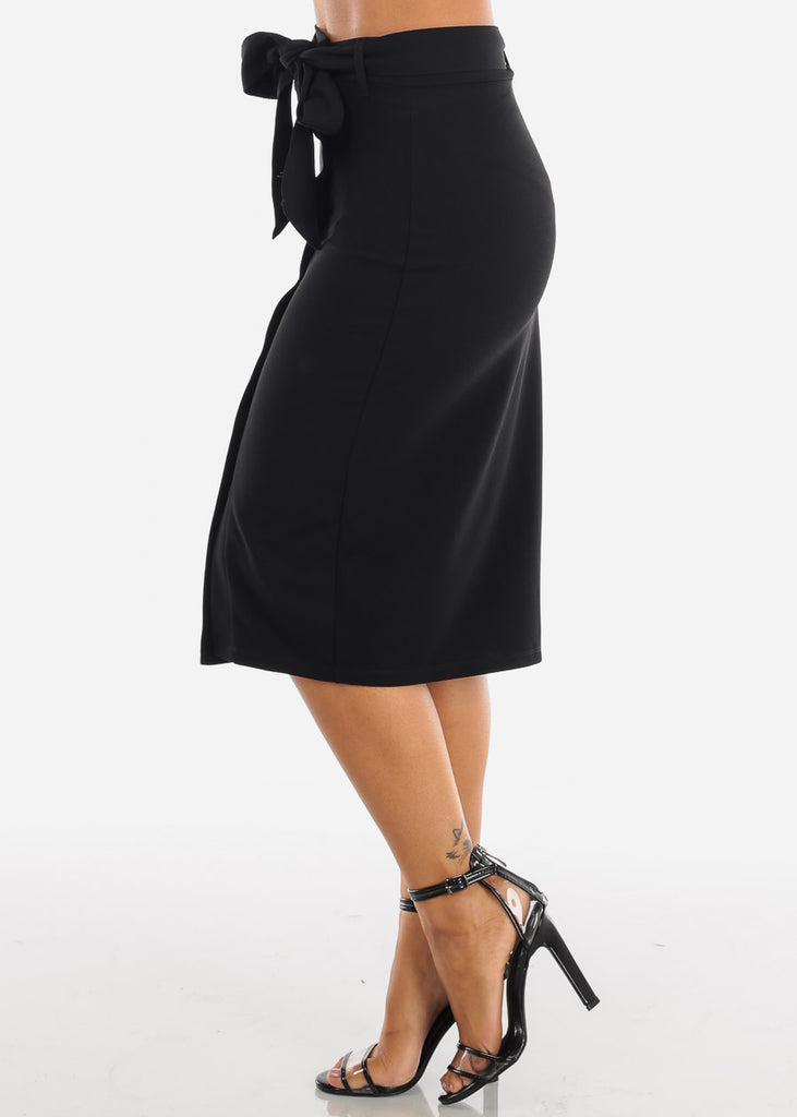 High Waisted Button Down Solid Black Midi Skirt With Tie Belt For Women Ladies Junior Office Business Career Wear At Affordable Price On Sale