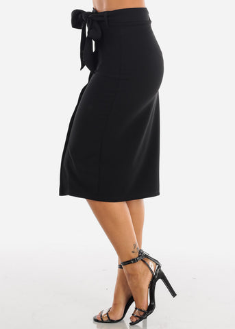 Image of High Waisted Button Down Solid Black Midi Skirt With Tie Belt For Women Ladies Junior Office Business Career Wear At Affordable Price On Sale