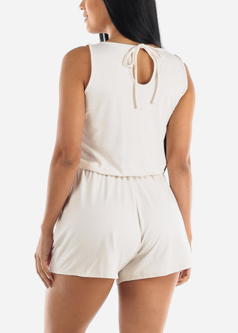 Sleeveless Elastic Waist Cream Romper