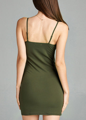 Image of Spaghetti Strap Olive Cami Dress