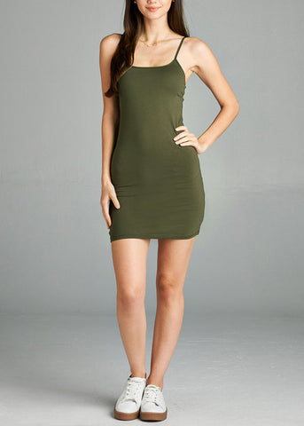 Spaghetti Strap Olive Cami Dress