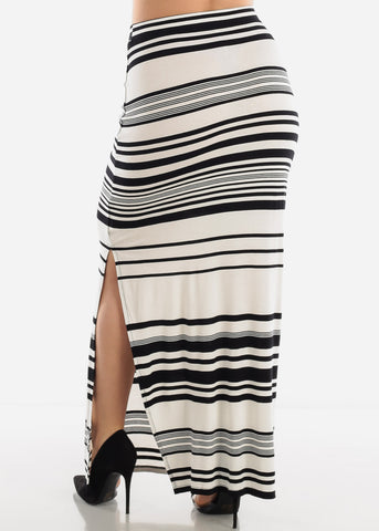 White & Black Stripe Maxi Skirt