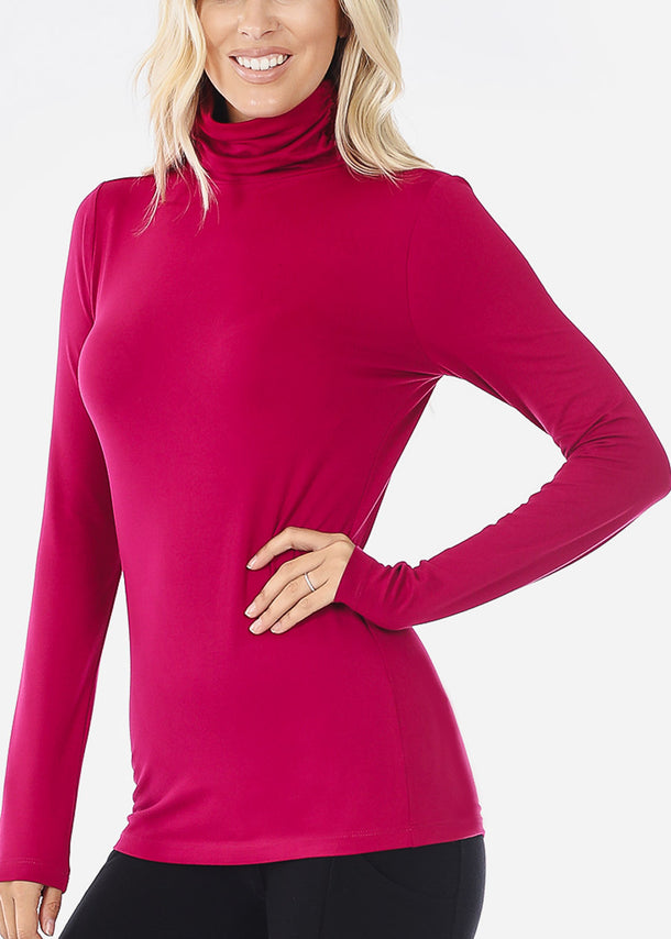 Magenta Mock Neck Top & Leggings (2 PCE SET)