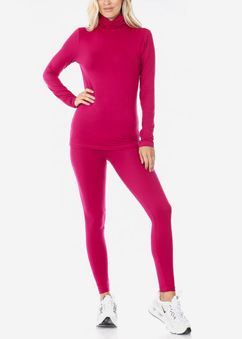 Image of Magenta Mock Neck Top & Leggings (2 PCE SET)