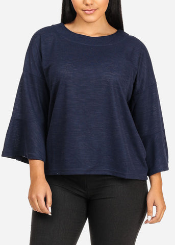 Cute Stretchy Navy Top