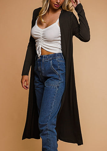 Image of Open Front Olive Maxi Cardigan