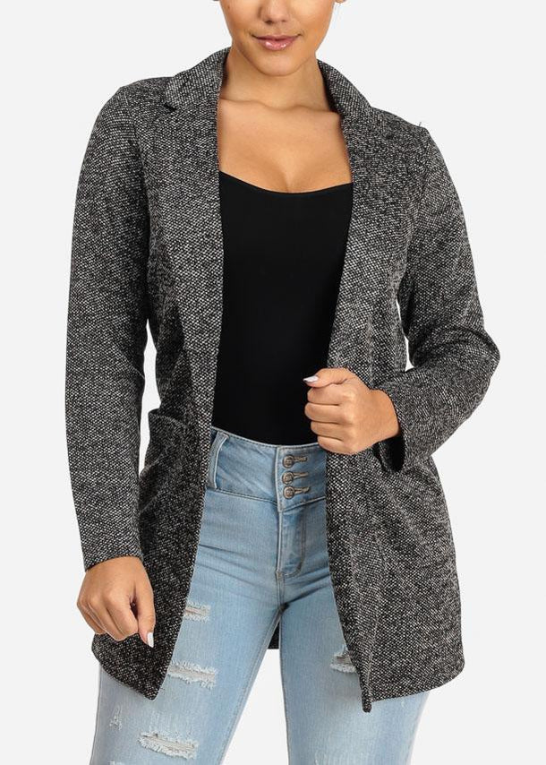 Cheap Open Front Printed Blazer