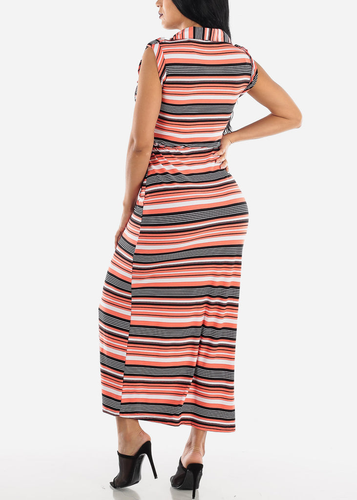 Short Sleeve Stripe Red Maxi Dress