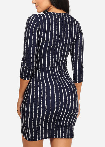 Image of Stylish Front Slit Navy Dress