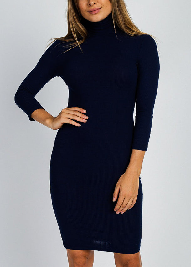 Chic High Neck Bodycon Mini Dress