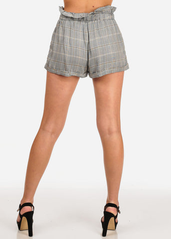 Women's Junior Going Out Beach Brunch High Waisted Plaid And Houndstooth Print Mustard Shorty Shorts With Tie Belt