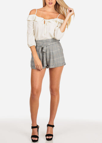 Image of High Rise Printed Mustard Shorts