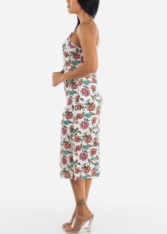 Image of White Floral Midi Dress