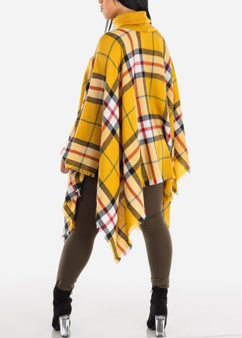 Image of Mustard Plaid Turtleneck Poncho