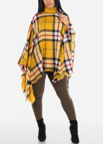Mustard Plaid Turtleneck Poncho