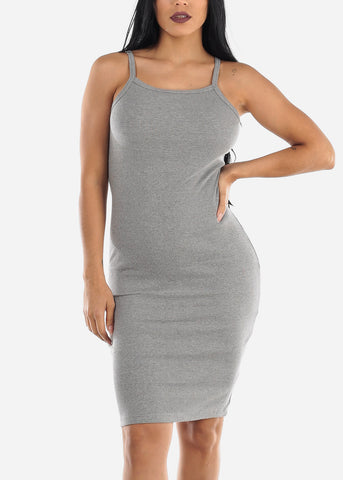 Sleeveless Casual Gray Bodycon Dress