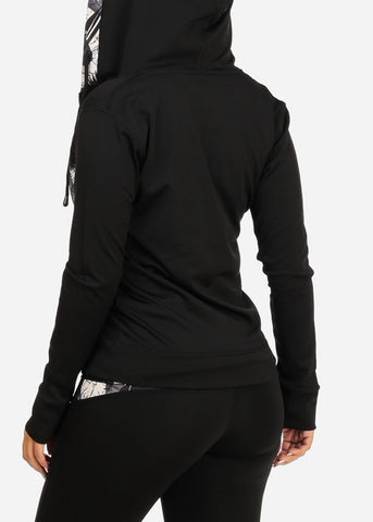 Workout Leggings Top Jacket Black And White (3 PCE SET)