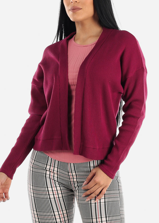 Wine Open Front Waffle Cardigan
